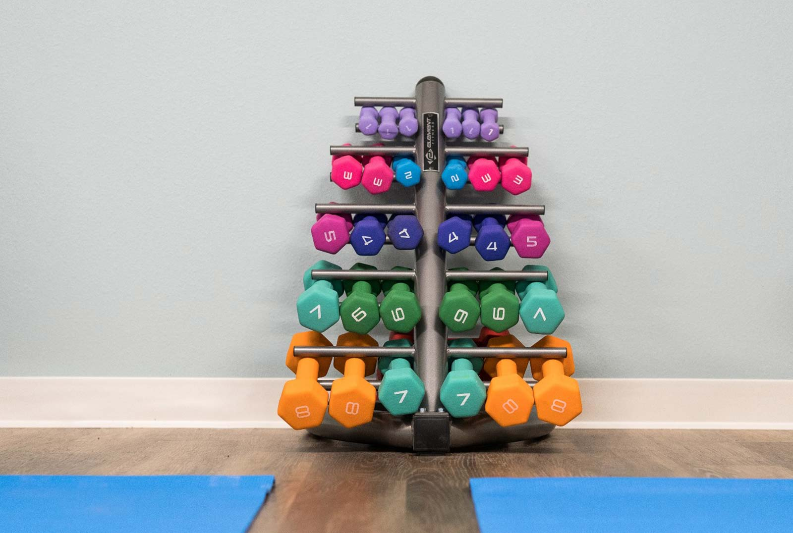 Colorful Vinyl Dumbbells Stacked In A Rack With Blue Yoga Mats Visible On Floor Nearby